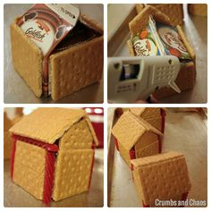 gingerbread house Love the idea of using goldfish box instead of milk carton! The milk cartons sometimes smell! Great for class party.