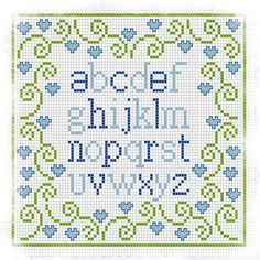 Cute and simple but also young alphabet Cross Stitch Letters, Cross Stitch Heart, Cross Stitch Borders, Cross Stitch Samplers, Cross Stitching, Cross Stitch Embroidery, Snitches Get Stitches, Cross Stitch Freebies, Stitch Patterns