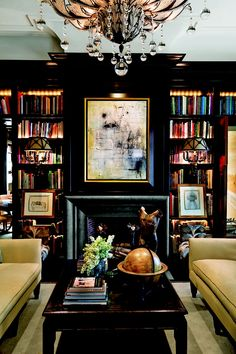 black walls make books pop...turn them into art.