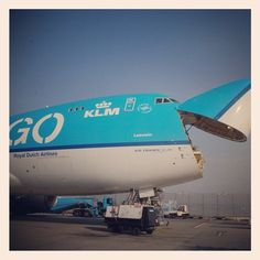 Cargo being loaded via front of the aircraft #KLM