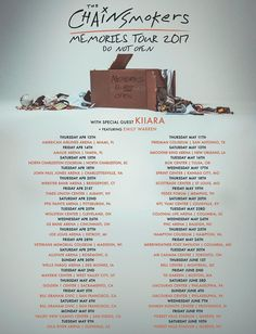 The Chainsmokers announces Memories: Do Not Open Tour dates #TheChainsmokers #Kiiara #EmilyWarren #MemoriesDoNotOpenTour