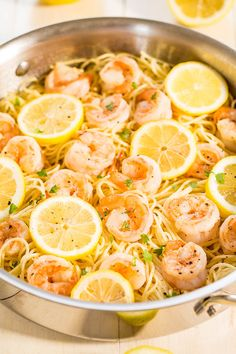 Lemon Butter Garlic Shrimp w/ Pasta. Lemon Butter Garlic Shrimp with Angel Hair Pasta - Easy & ready in 15 minutes! Big lemon flavor juicy shrimp & buttery noodles all in one! Seafood Dishes, Pasta Dishes, Seafood Recipes, Dinner Recipes, Cooking Recipes, Healthy Recipes, Pasta Food, Seafood Pasta, Shrimp Pasta Recipes