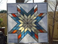 Quilt Square  Geometric Star  Stained Glass Panel by SmartGlassArt, $280.00