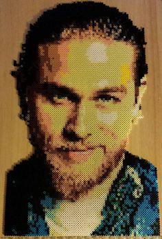 Portrait Jax Teller à la main de JT (7 184) Sons Of Anarchy fabriqué à partir de perler beads