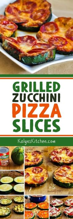 These Grilled Zucchini Pizza Slices are one of the Top Ten Low-Carb Zucchini Recipes on Kalyn's Kitchen, and this is the perfect way to use those giant zucchini that show up in late summer. You can also slice the zucchini lengthwise if you only have smaller ones. This recipe is low-carb, Keto, low-glycemic, gluten-free, and South Beach Diet friendly. [found on KalynsKitchen.com]