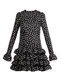 Dolce & Gabbana - Polka-dot print ruffle-hem dress