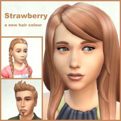 Now this is berry sweet…This adds a new colour to all hair styles, eye brows and beards.I made it by blending EA's dirty blonde and red (70/30). Comparison pic here.Download:Base Game(160 recolours for hair, brows and beards - merged to 1 file)Basement Patch (26/03/15) (2 recolours)Outdoor Retreat (GP01)(9 recolours for the new hair styles)Get to Work (EP01) (19 recolours)[[MORE]]I have used a texture by LumiaLover for the ym WavyLoose Hair (the male hair style which came with the Basement…