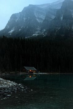 Lets go lake cabin in the mountains