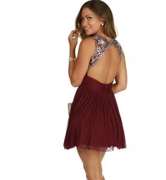 2015 Sexy Burgundy Homecoming Dresses Keyhole Back Beading Crystal Chiffon Short 8th Grade Graduation Prom Dresses
