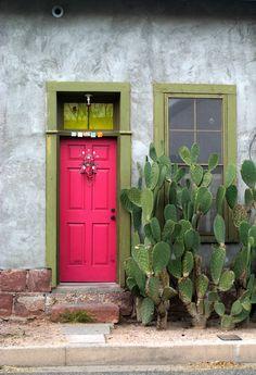 red door and window