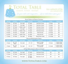 This little guide is helpful to newbies, event interns, and as a refresher. Table dimensions and the appropriate linens to use for the table of your choice.