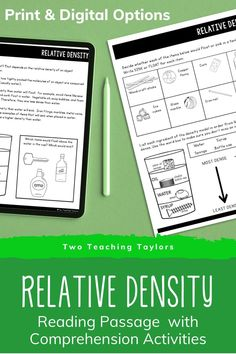 Flexible relative density activities that can be print or digital assignments. Aligned with 5th grade Texas TEKS but will support students in any upper elementary classroom. Students can take notes over the reading passages, complete practice worksheets and assessments. Includes diagrams, illustrations, and questions over relative density compared to water. The perfect teaching support for kids exploring what is relative density in 4th grade or 5th grade. Science Vocabulary, Science Standards, Teaching Science, Elementary Science Classroom, Upper Elementary, Comprehension Activities, Comprehension Questions, Relative Density, Physical Properties Of Matter