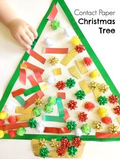 christmas activities Toddler Christmas activity using sticky contact paper - Laughing Kids Learn Christmas Activities For Toddlers, Preschool Christmas, Holiday Activities, Craft Activities, Preschool Crafts, Christmas Themes, Kids Christmas, Holiday Crafts, Christmas Crafts For Kids To Make Toddlers