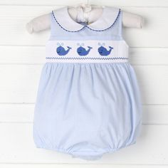 $36.99. Smocked Blue Whale Collared Girl Bubble Light Blue Gingham