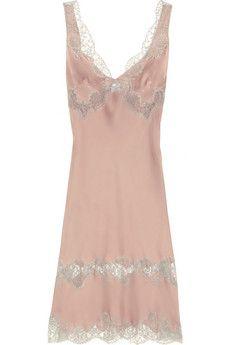 d8a82a45fc756 Carine Gilson - Lace-trimmed silk-satin mousseliné chemise