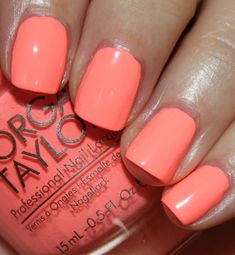 I'm very excited to bring you the Morgan Taylor Neon Color Collection for summer today! You see, this is my first ever experience with Morgan Taylor Nail Peach Nail Polish, Summer Nail Polish, Peach Nails, Nail Polish Colors, Summer Nails, Morgan Taylor, Gelish Nails, My Nails, Neon Coral Nails