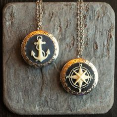 Nautical cameo locket, cameo necklace, compass locket, anchor locket, antique silver locket, cameo jewelry, unique holiday gift ideas by DelicateIndustry1 on Etsy
