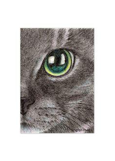 lápiz de dibujo, acuarela de gato realista/realista, la cara de un gato negro de arte grabado, único regalo para amantes de gatos, gato decoración