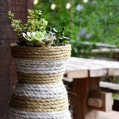 DIY Hourglass Rope Planter