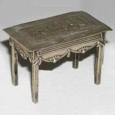Antique Dutch Silver Miniature  Doll  Table, hallmarked, detailed casting  1900