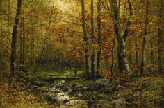 """poboh: """" Bridge in Forest, Wilhelm Bröker. Magic Forest, Forest Art, Beautiful Paintings, Oil On Canvas, Bridge, Country Roads, Explore, World, Germany"""