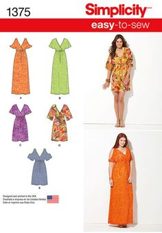 Misses' & Plus Size Easy to Sew Pullover Dresses