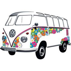 These Volkswagen Bus wall decals are a fun way to show off your VW pride!Choose from a variety of designs and colors in the T1 Bus shape - Dress up your wall with T1 Love - Self adhesive PVC foil stic