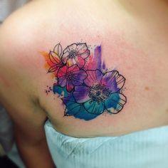 Custom watercolour tattoo by Katie Shocrylas @portfoliobox