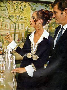 Ladies Home Journal - January, 1969 Black shirt dress with gold detail. 1969 Fashion, Fashion Photo, Vintage Fashion, Women's Fashion, Retro 2, Retro Vintage, Charles Manson, Man On The Moon, Editorial Fashion
