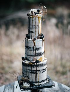 Chocolate naked drip cake with blackberries
