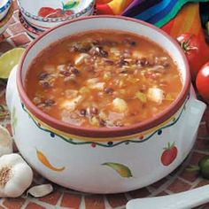 """Black Bean Soup.  Add browned ground beef to """"beef up"""" this soup."""
