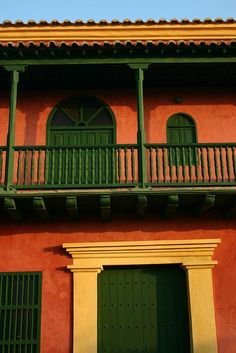 Red housefront, Cartagena, Colombia