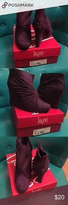 Suede Wedge booties Purple. Suede. Platform. Never been worn. impo Shoes Wedges
