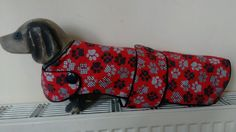 New Handmade 16.5  Red Pawprint Dachshund Coat, fleece lined, button detail.