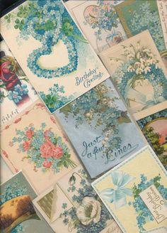 Nice Lot of ~25 VICTORIAN FORGET-ME-NOTS blue FLOWERS greetings Postcards-ttt889 #greetings