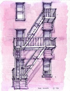 A Brooklyn Fire Escape Watercolor Sketchbook, Art Sketchbook, Watercolor Art, Watercolor Architecture, Architecture Sketches, Building Drawing, Fire Escape, Pen Sketch, House Drawing