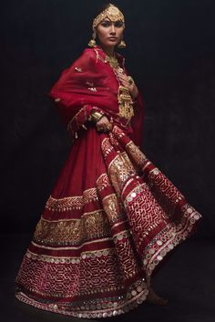 Classic Red Angrakha with resham mirror gota and zardozi embroidery paired with a fully hand embroidered dupatta comes with pants. Indian Bridal Outfits, Indian Bridal Lehenga, Indian Bridal Fashion, Pakistani Bridal, Indian Dresses, Bridal Dresses, Kurta Patterns, Lehnga Dress, Pakistani Couture