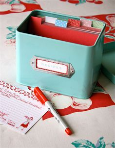 IHeart Organizing: Monthly Organizing Challenge: Kitchen Intro Reciipe box (use washi tape for labels)