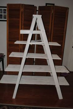 Ladder Shelves- I have been thinking about making one similar to this for quite a while. Maybe it's time to quit thinking and begin doing.....