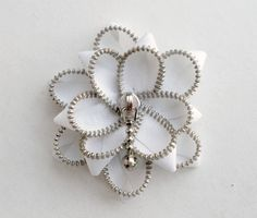 White Floral Brooch / Zipper Pin - Approx 2.8 in/ 7cm - eco friendly, recycled jewelry. $20.00, via Etsy.