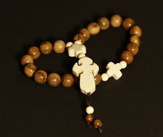 Mens Necklaces – Wooly Mammoth Komboloi Prayer Beads with cross – a unique product by carvingcollection on DaWanda
