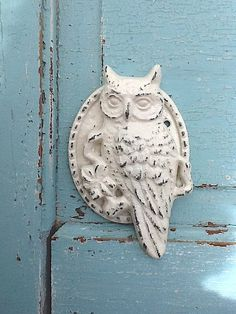 Owl Cast Iron Door Knocker Distressed Creamy by CamillaCotton,