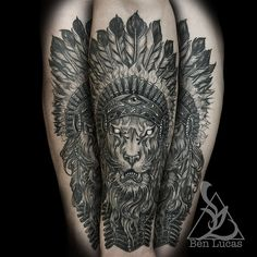 Brandons-lion-with-indian-headdress-in-black-and-grey-inne… | Flickr