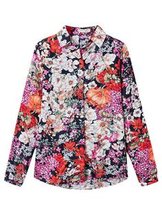 Elegant OL Floral Printed Chiffon Long Sleeve Blouse