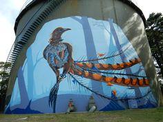 Street Art, Murals & Artworks by Sydney based artist Janne Birkner. Private commissions available. Tag Street Art, Street Wall Art, Urban Street Art, Great Western, Building Art, Country Art, Australian Art, Water Tower, Public Art