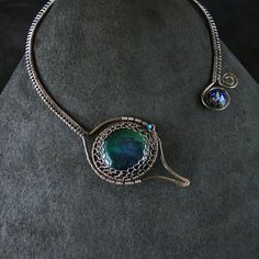 """Torc Choker Open Front Wire Wrapped: """"Mystic Peacock""""   Flickr - Photo Sharing!"""