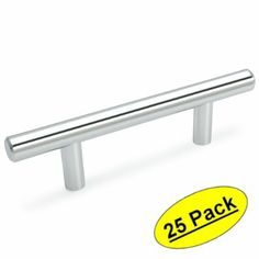 "Cosmas 305-030CH Polished Chrome Cabinet Hardware Euro Style Bar Handle Pull - 3"" Hole Centers, 5-3/8"" Overall Length - 25 Pack $60 Amazon"