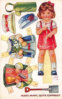 """Raphael Tuck """"Mary Mary Quite Contrary Paper Doll"""" Cut-Out Set postcard # 3382, series 2. Click here for more Postcards . All postcards will be shipped in a rigid mailer with tracking number within the U. S."""