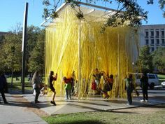 LOVE THIS! The Blanton Museum of Art at UT has a large outdoor installation of stringy rubber tubes.