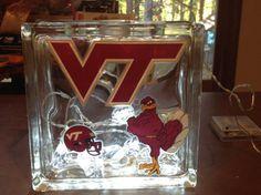 Lighted Glass Block Virginia Tech Hokies VT by HollySherrysWreaths